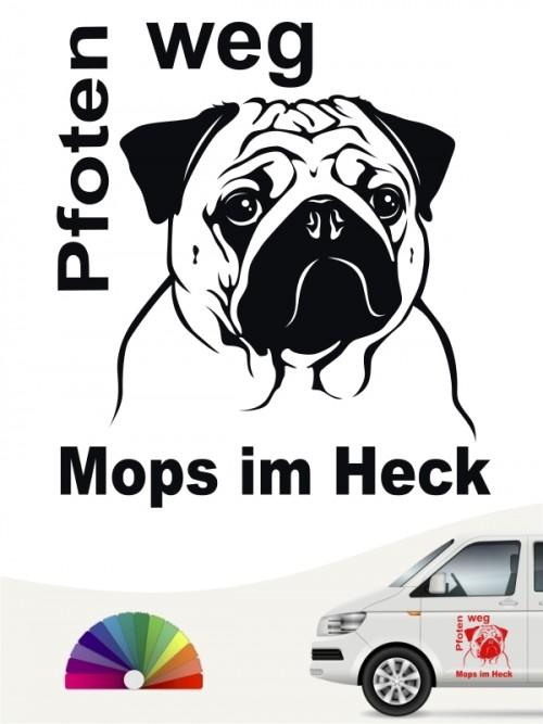 Mops Pfoten weg Autoaufkleber von anfalas.de