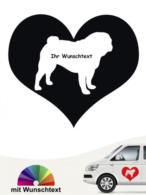 Mops Herzmotiv Aufkleber mit Wunschname von anfalas.de