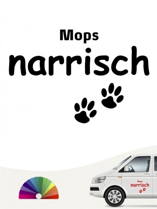 Hunde-Autoaufkleber Mops narrisch von Anfalas.de