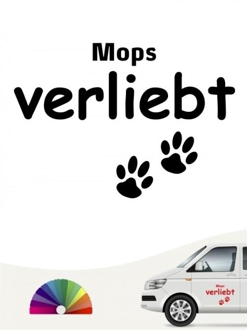 Hunde-Autoaufkleber Mops verliebt von Anfalas.de