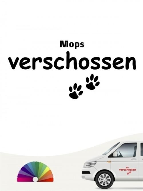 Hunde-Autoaufkleber Mops verschossen von Anfalas.de