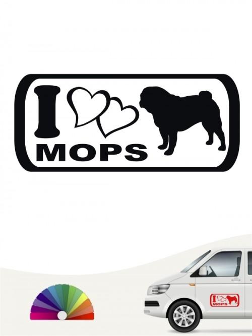 I Love Mops Heckscheibensticker von anfalas.de