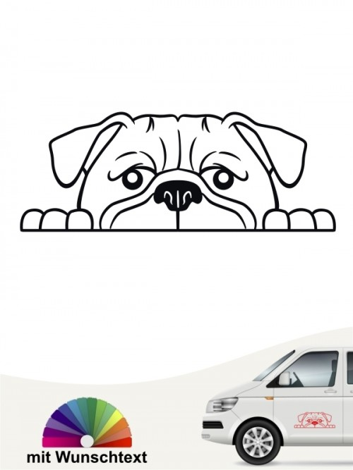 Mops Comic Sticker anfalas.de