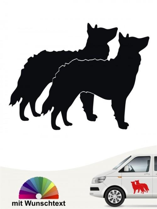 Mudi doppel Silhouette Autoaufkleber von anfalas.de