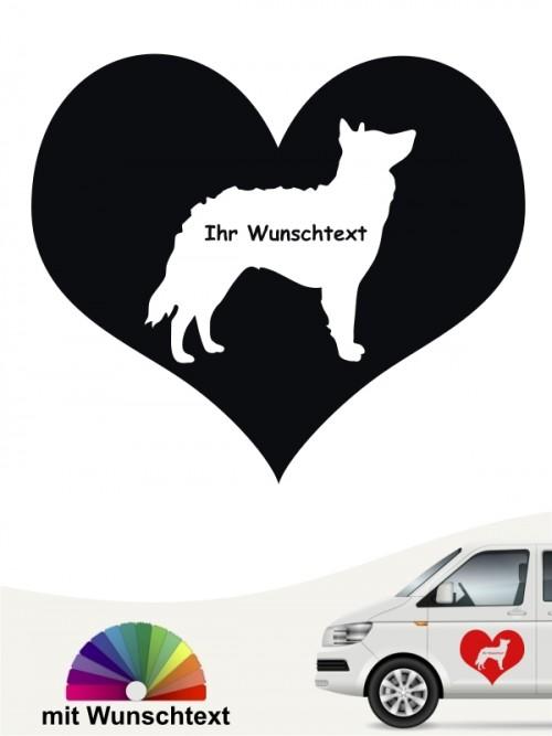 Mudi Herzmotiv mit Wunschname Autosticker von anfalas.de