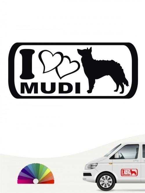 I Love Mudi Heckscheibenaufkleber von anfalas.de