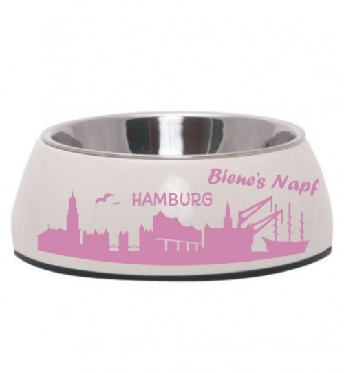 Hundenapf mit Hamburg-Motiv und Name, div. Farben & Größen