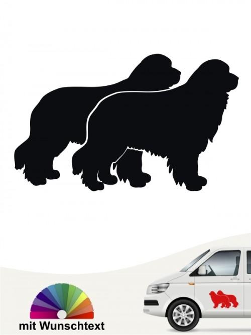 Neufundländer doppel Silhouette Autosticker von anfalas.de