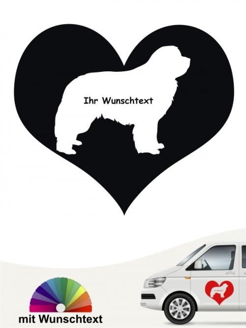 Neufundländer Herzmotiv mit Wunschtext von anfalas.de