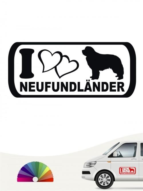 Neufundländer I Love Autoaufkleber von anfalas.de