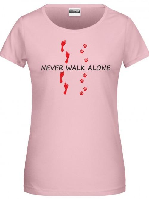 Never walk alone Damen Shirt pink