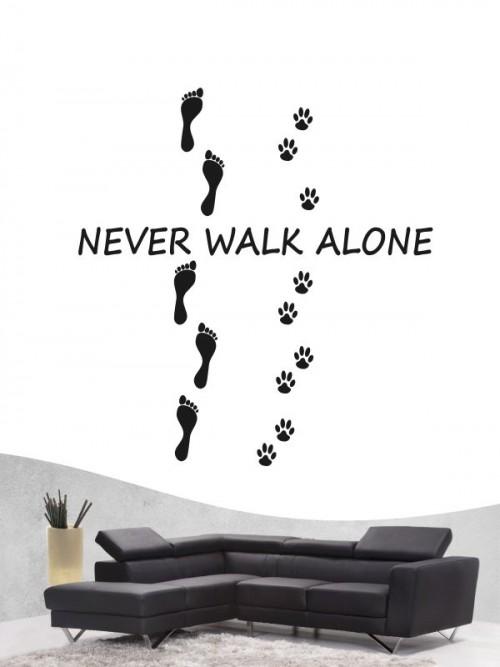 Hunde-Wandtattoo never walk alone von Anfalas.de