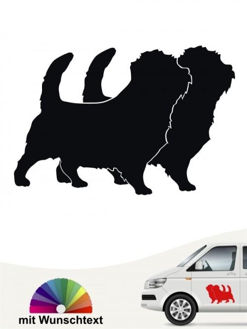 Norfolk Terrier doppel Silhouette Autoaufkleber mit Wunschtext von anfalas.de