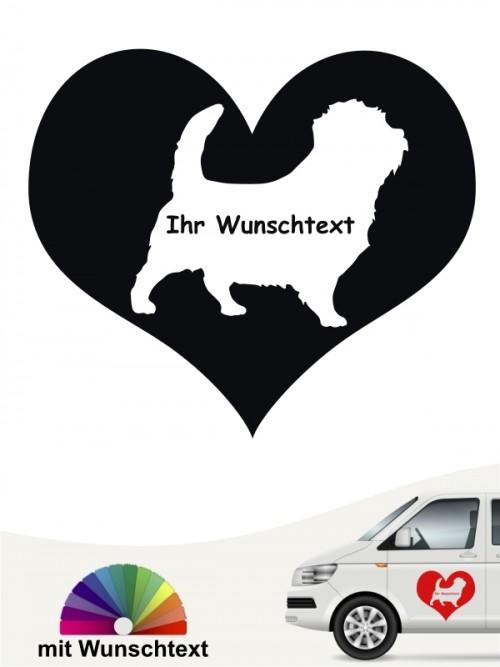 Norfolk Terrier Herzmotiv Autosticker mit Wunschname von anfalas.de
