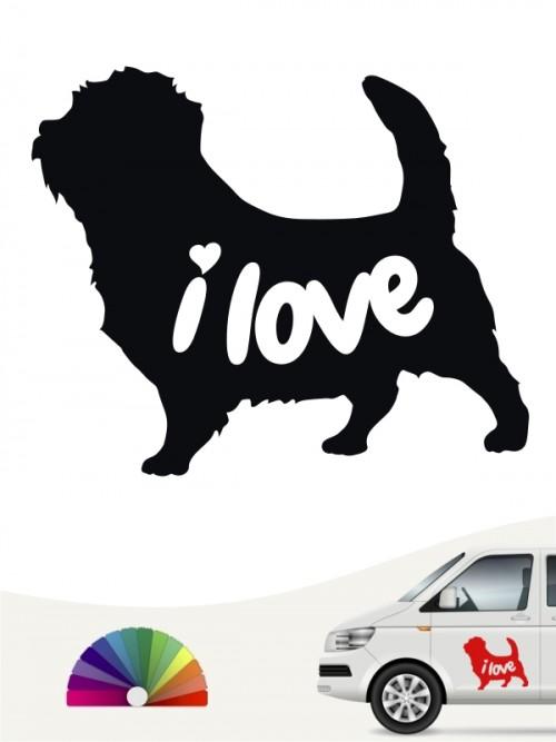 Norfolk Terrier i love Aufkleber von anfalas.de