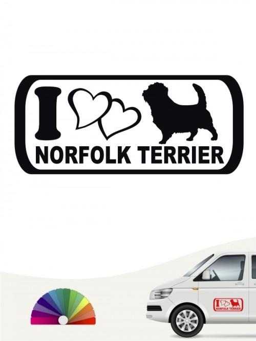 I Love Norfolk Terrier Heckscheibenaufkleber von anfalas.de