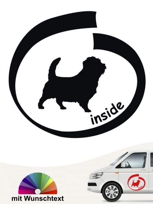 Norfolk Terrier inside Autoaufkleber mit Wunschtext von anfalas.de