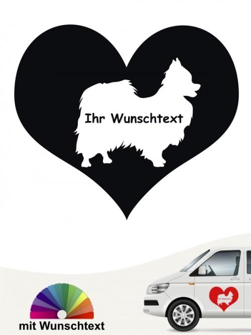 Papillon Herzmotiv Autoaufkleber von anfalas.de