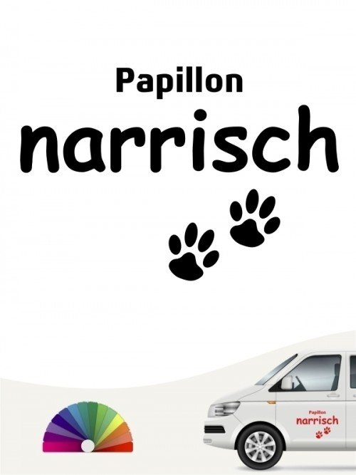 Hunde-Autoaufkleber Papillon narrisch von Anfalas.de