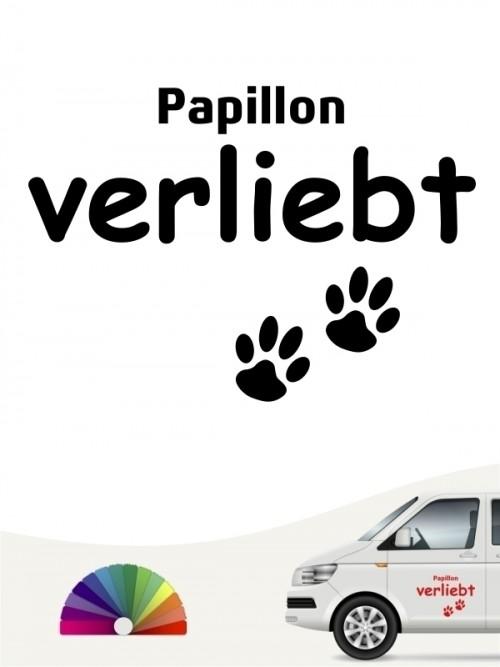 Hunde-Autoaufkleber Papillon verliebt von Anfalas.de