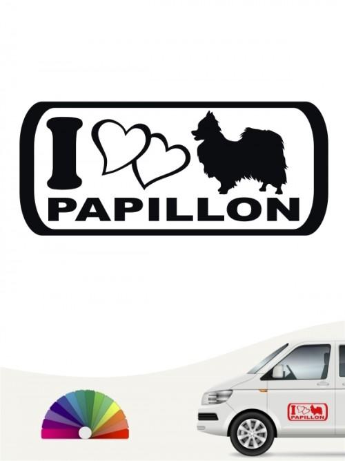 I Love Papillon Autosticker von anfalas.de