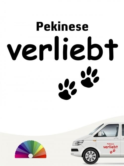 Hunde-Autoaufkleber Pekinese verliebt von Anfalas.de