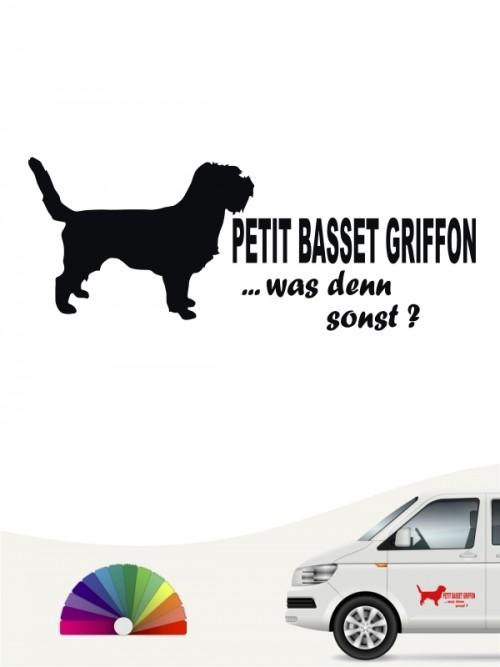 Petit Basset Griffon was denn sonst Heckscheibenaufkleber von anfalas.de