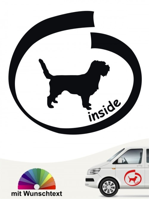 Inside Petit Basset Griffon Autosticker mit Wunschtext von anfalas.de
