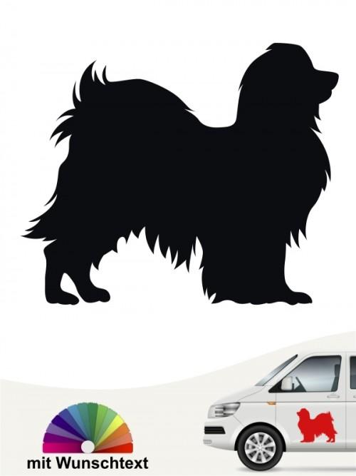 Phalene Hundeaufkleber mit Wunschtext von anfalas.de