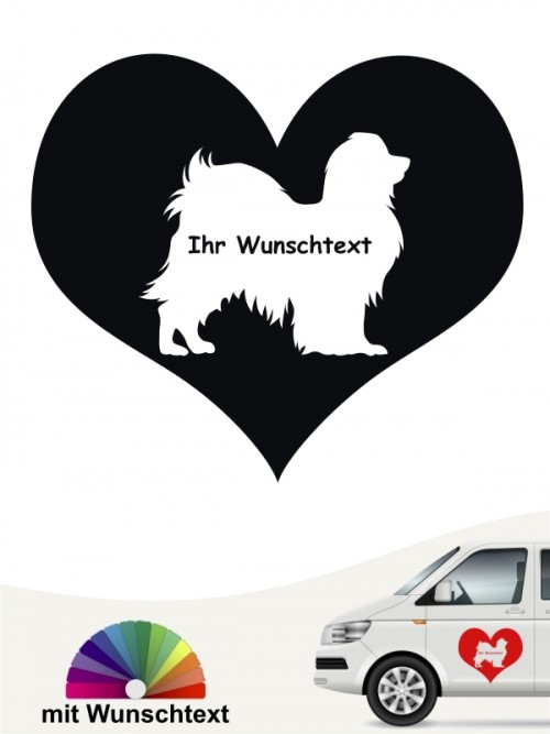 Phalene Herzmotiv Autoaufkleber mit Wunschtext von anfalas.de