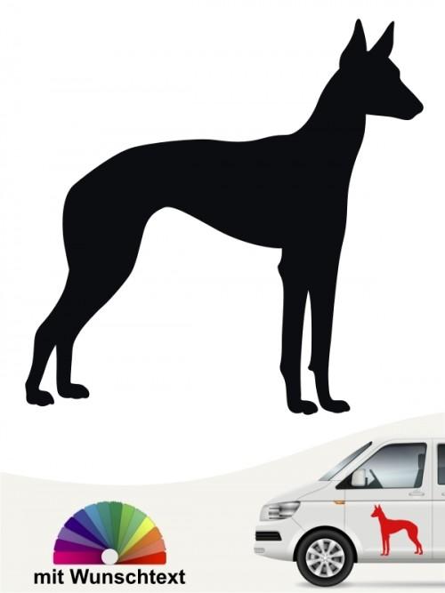 Podenco Hundeaufkleber mit Wunschtext von anfalas.de