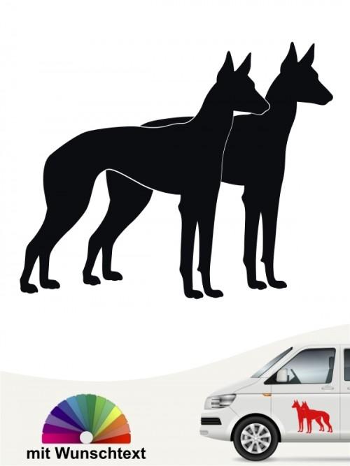Podenco doppel Silhouette Autoaufkleber mit Wunschtext von anfalas.de