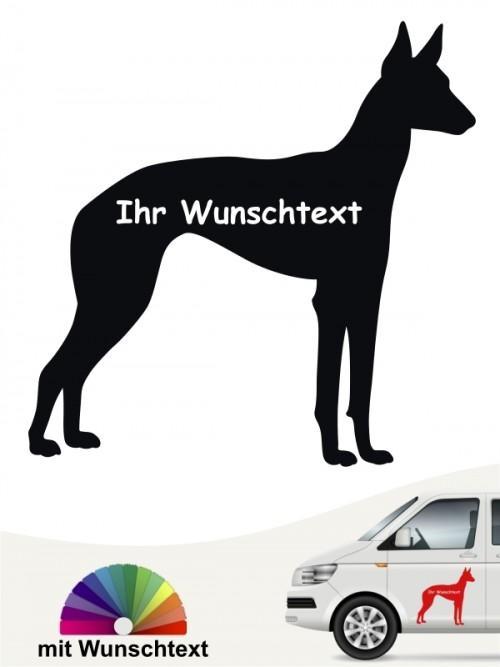 Podenco Silhouette Autoaufkleber mit Wunschname von anfalas.de