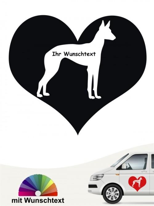 Podenco Herzmotiv Autoaufkleber mit Wunschtext von anfalas.de