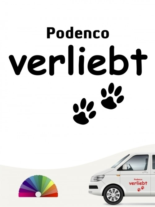 Hunde-Autoaufkleber Podenco verliebt von Anfalas.de