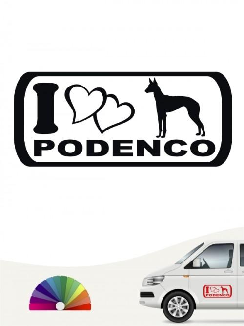 I Love Podenco Heckscheibenaufkleber von anfalas.de