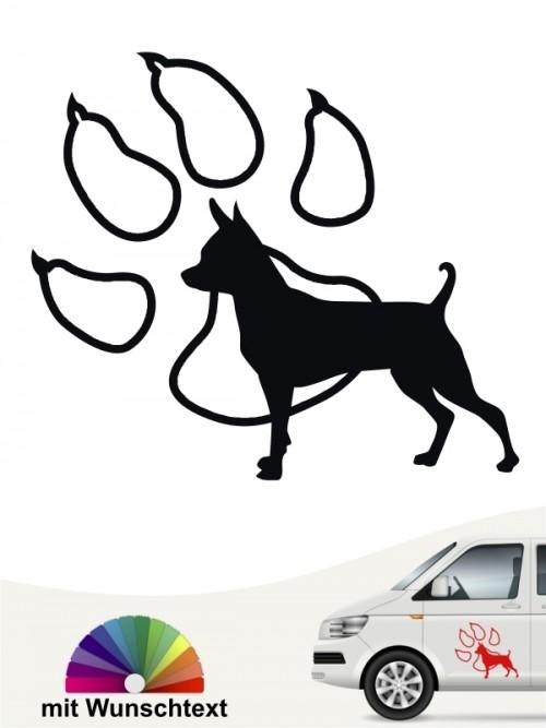 Prager Rattler Hundeaufkleber mit Wunschtext von anfalas.de