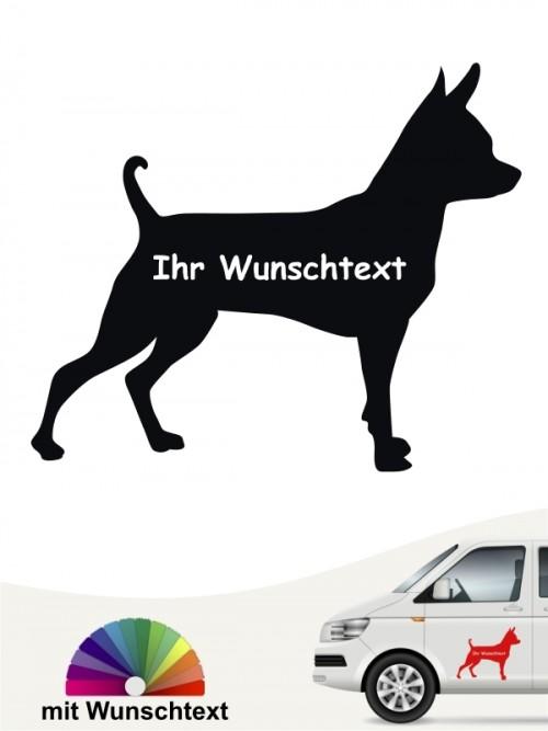 Prager Rattler Rassehundeaufkleber vmit Wunschname von anfalas.de