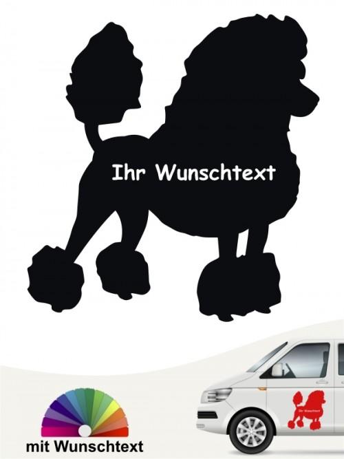 Pudel Silhouette Autosticker mit Wunschname von anfalas.de
