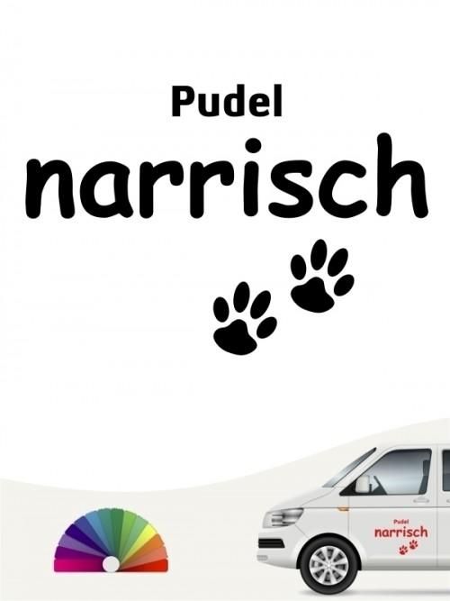 Hunde-Autoaufkleber Pudel narrisch von Anfalas.de