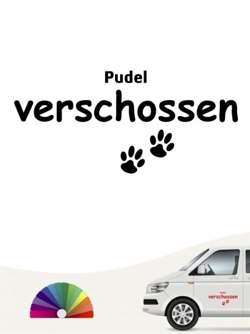Hunde-Autoaufkleber Pudel verschossen von Anfalas.de