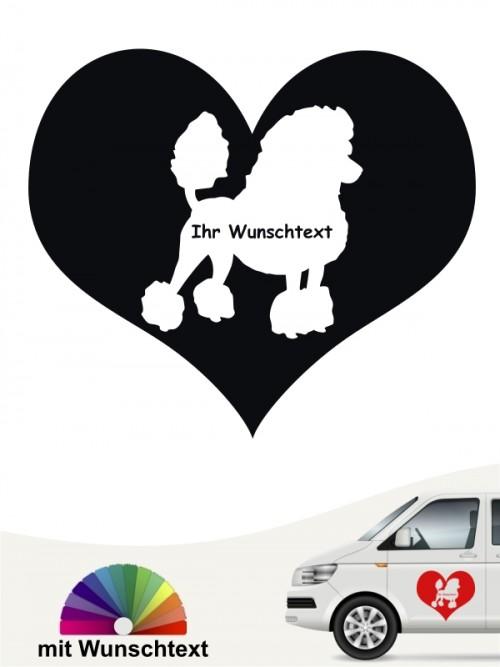 Pudel Aufkleber Herzmotiv mit Wunschname von anfalas.de