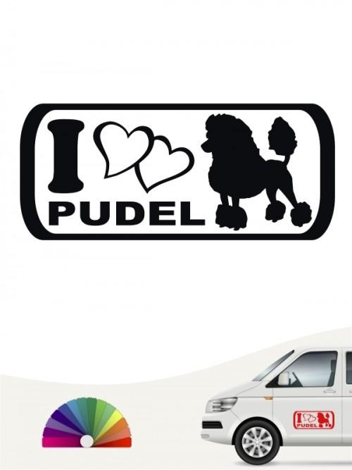 I Love Pudel Autoaufkleber von anfalas.de
