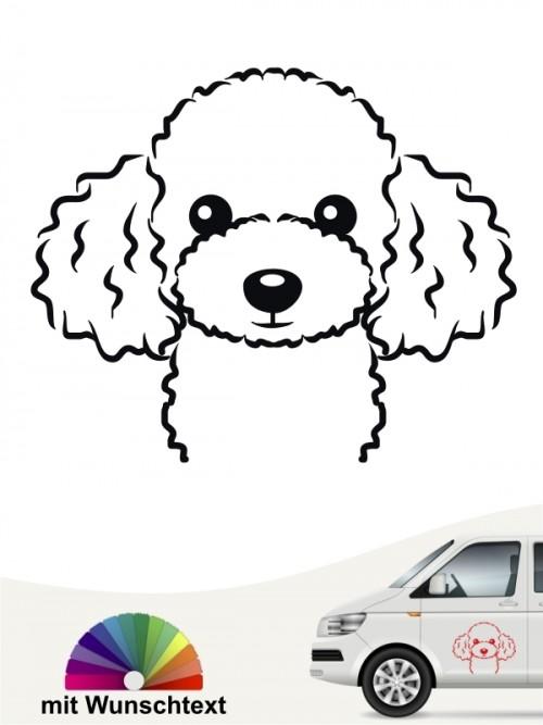 Pudel Comic Hundeaufkleber von anfalas.de
