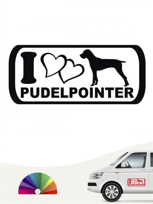 I Love Pudelpointer Heckscheibenaufkleber von anfalas.de