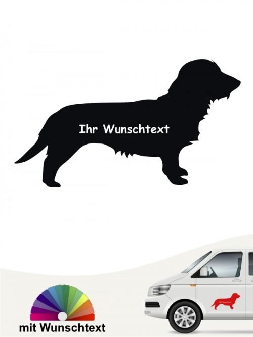 Rauhaar Dackel Silhouette Autosticker mit Wunschname von anfalas.de