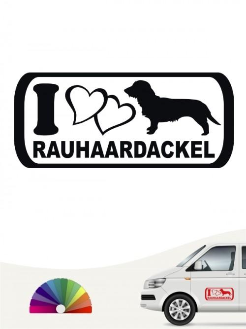 I Love Rauhaar Dackel Heckscheibenaufkleber von anfalas.de