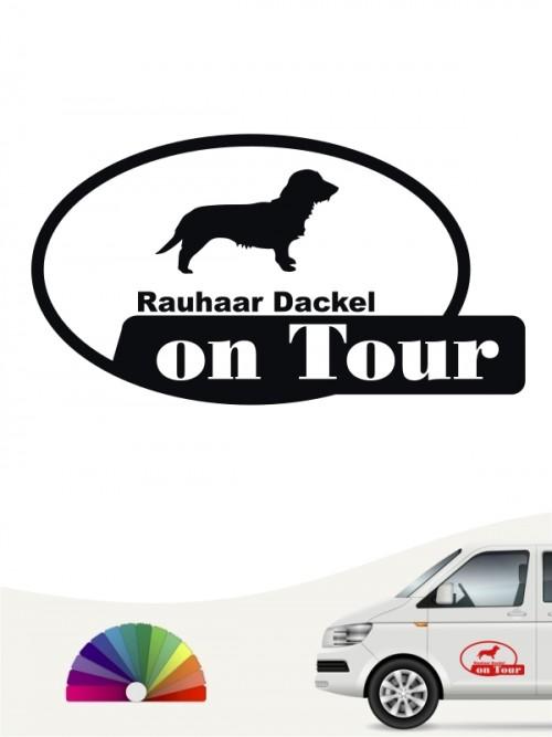 Rauhaar Dackel on Tour Hundeaufkleber von anfalas.de