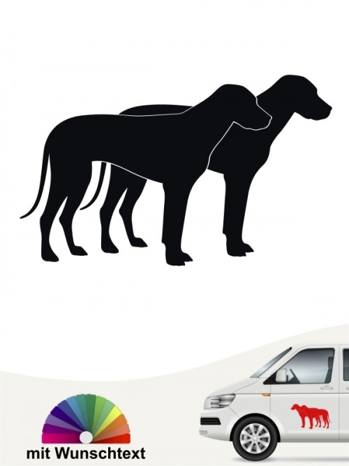 Rhodesian Ridgeback doppel Silhouette Aufkleber mit Wunschtext von anfalas.de