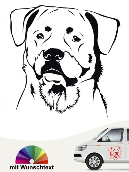 Rottweiler Autoaufkleber mit Wunschtext von anfalas.de